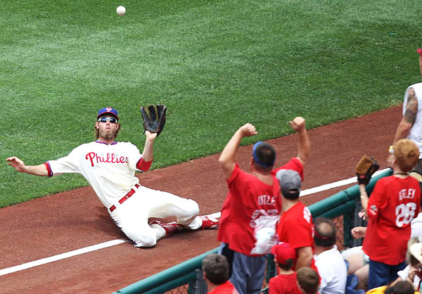 In the first inning of the June 6th day game between the Philadelphia Phillies and San Diego Padres at Citizens Bank Ball Park, right fielder Jayson Werth (28) made a sliding catch to retire Scott Hairston (not pictured). The Padres won 6-5.