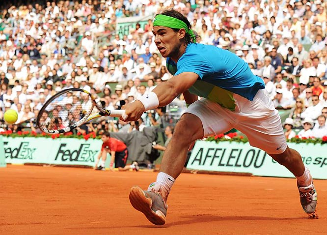 Rafael Nadal reaches for a forehand during the final match of the French Open on June 6, when he defeated Robin Soderling 6-4, 6-2, 6-4 to avenge last year's loss to Soderling in the fourth round.
