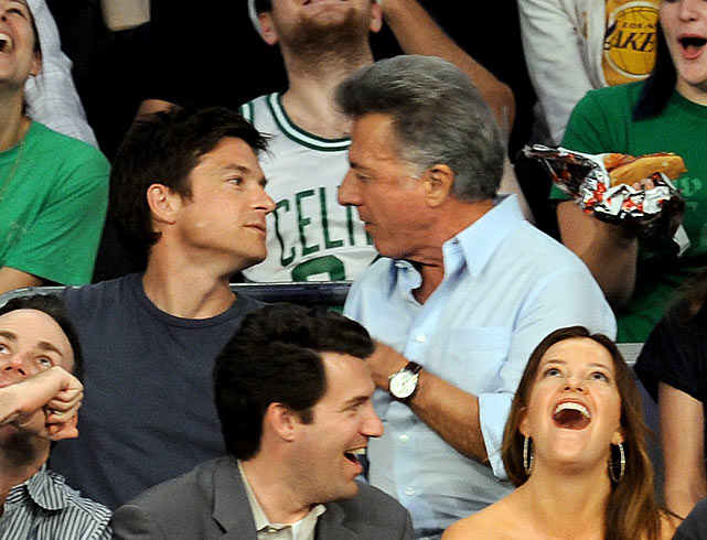 PDA at sporting events is nothing new.  But this might be a first.  During Game 1 of the NBA Finals between the Lakers and Celtics, ae cameraman put Dustin Hoffman on the Kiss Cam.  Instead of turning to his wife, he turned to, and kissed, Jason Bateman.  Apparently the joke went over well with their wives and the crowd.  Could this be a new couple alert?