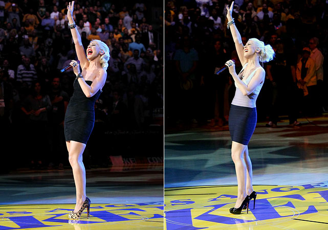 Could Christina Aguilera be a good luck charm for the Lakers? The pop star belted out the National Anthem before Game 6 of the NBA Final, in which the Lakers drilled the Celtics 89-67.  Guess the Lakers are a little superstitious because Aguilera came back for Game 7, and we all know the outcome of that one.