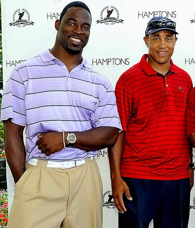Who knew golf could be such a dangerous sport?  Justin Tuck of the Giants and former NBA star John Starks were attending the Hamptons Golf Classic at the Hampton Hills Golf & Country Club in Westhampton Beach, when a gust of wind blew over a sponsor stand, hitting the two athletes.  Thankfully, no one was hurt.