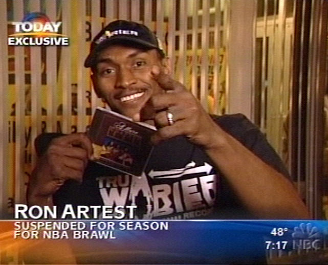 "Artest was suspended for the remainder of the 2004-05 season after the famous Pacers-Pistons brawl in Detroit. During his downtime, Artest appeared on NBC's ""Today Show"" to promote his rap album."