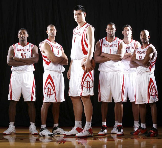 Prior to the 2008-09 season, Artest was traded to Houston for Bobby Jackson. In this media day photo, Artest poses with (left to right) Shane Battier, Yao Ming, Tracy McGrady, Luis Scola and Rafer Alston.