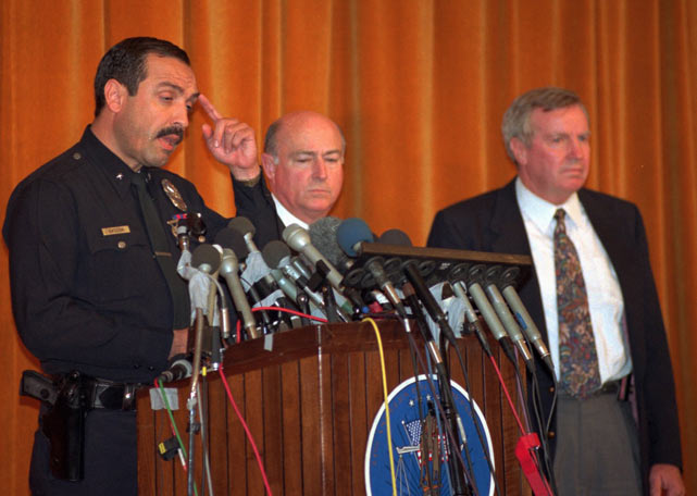 Los Angeles Police Department spokesman David Gascon speaks at a news conference to announce the charges against O.J. Simpson.
