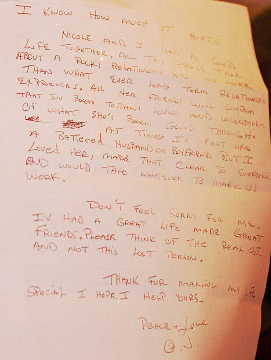 This is the last page of a handwritten letter by Simpson to fans, which was read by friend Robert Kardashian during a news conference the day of the chase.