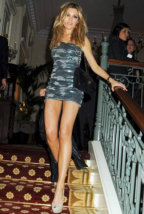 Abigail Clancy, fiancee of English striker Peter Crouch (Spurs), attends the Brit Awards after party held by Universal at the Mandarin Oriental Hotel on February 16, 2010 in London.