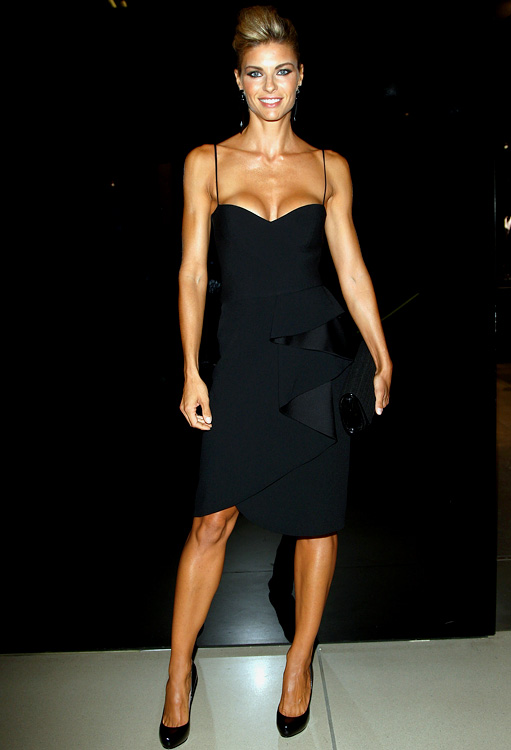 Actress Martina Colombari, wife of former AC Milan defender Alessandro Costacurta, attends the VOGUE Fashion's Night Out at the Giorgio Armani boutique on September 10, 2009 in Milan.