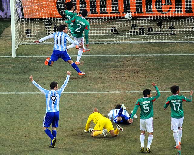 Carlos Tevez was clearly offside when he scored on a 26th-minute header to give Argentina a 1-0 lead in its round-of-16 match against Mexico. Referee Roberto Rosetti of Italy allowed the goal after consulting with his linesman.