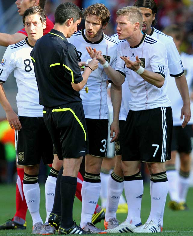 Spanish referee Alberto Undiano handed out nine yellow cards in Germany's group match against Serbia, none more controversial than the second yellow he gave German star Miroslav Klose for a relatively mild challenge of Dejan Stankovic in the 37th minute. Serbia scored the only goal of the game one minute later.