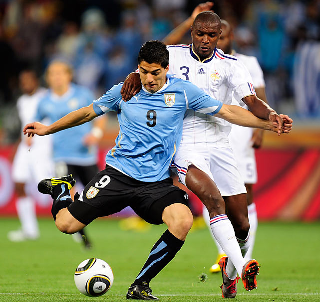 The defense of France's Eric Abidal, who matched up with Uruguay's Luis Suarez most of the day, helped keep the match a scoreless tie. In the 70th minute, Suarez got free into the box, but Abidal was there with the challenge.