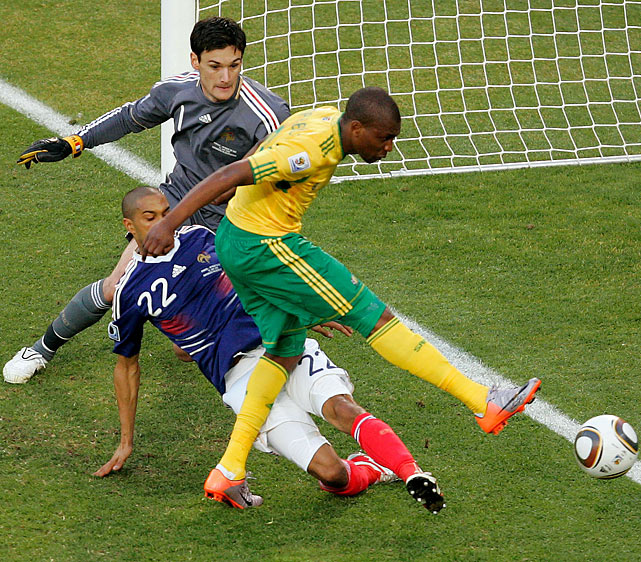 Katlego Mphela tacked on a second South Africa goal 17 minutes later. Coach Carlos Alberto Parreira changed his formation and put two strikers up front, and it led to an offensive blitz from Bafana Bafana. South Africa had 21 shots in the match, 10 of which were on goal.