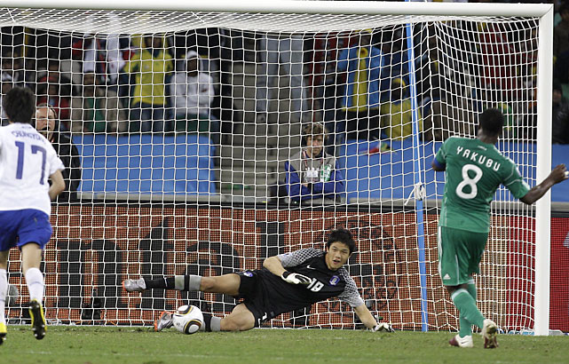 Ayegbeni Yakubu knotted the match at 2-2 with a penalty kick in the 69th minute, but it would not be enough for Nigeria to advance out of group play. South Korea advanced to the World Cup's knockout round for only the second time, the other time coming when it was co-host of the tournament in 2002.