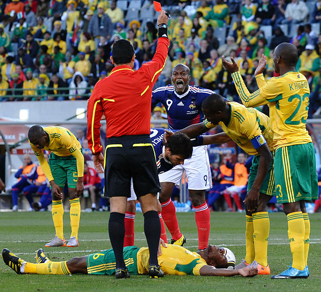 France's hopes of advancing to the second round were severely decimated after midfielder Yoann Gourcuff was ejected in the 25th minute for elbowing South Africa's MacBeth Sibaya. Les Bleus were forced to play with 10 men from that point.