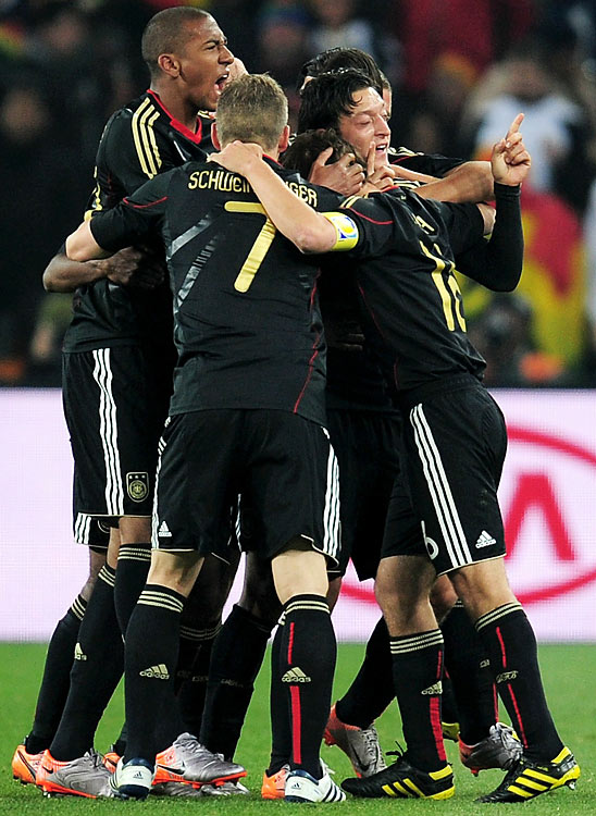 Hopping into the air after scoring his goal, Oezil celebrated with his German teammates. The three-time champions were in jeopardy of failing to advance through the group stage for the first time, but Oezil provided them with the goal they needed.