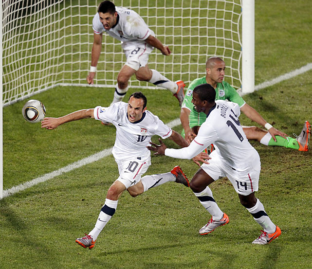 With time winding down on the U.S.' 2010 World Cup, Landon Donovan delivered the goal that propelled the team forward to the knockout stage. In the first minute of extra time, Donovan found himself on the doorstep with nothing but net in front of him and knocked in the ball.
