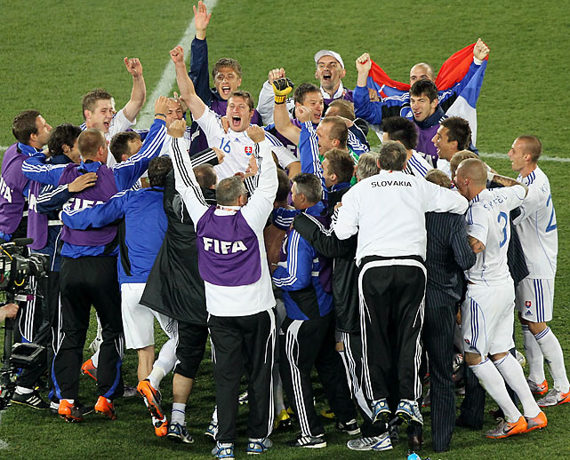 Many of the Slovak players were in tears at the end of the match, and the reserves gathered in a circle, jumping up and down in celebration. It is the first World Cup for Slovakia as an independent nation.