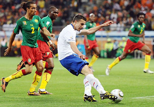 In the 36th minute Dutch striker Robin Van Persie split the Cameroon defense and fired a quick right-footed strike to beat Cameroon keeper Souleymanou Hamidou for the first goal of the game.