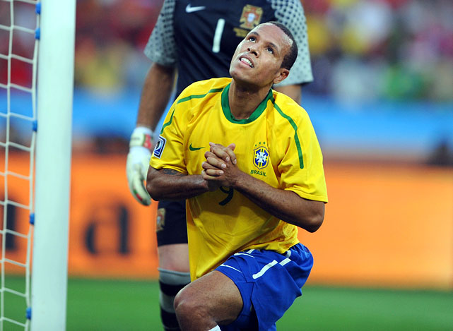 Luis Fabiano missed on a header from close range, and neither team was able to capitalize on a number of scoring chances. Brazil won group G after the 0-0 draw with Portugal.