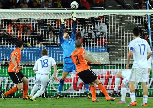 Netherlands goalkeeper Maarten Stekelenburg preserved the win with two saves in the 67th minute. Stekelenburg jumped in the air to deflect a shot from Miroslav Stoch over the crossbar. After a corner kick, Slovakia's Robert Vittek found himself with an open shot, but directed it right at Stekelenburg.