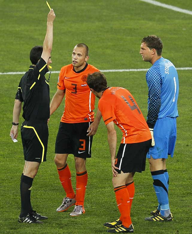 Even Stekelenburg picked up a yellow card in what was an aggressively played match. In all, both teams earned a combined 36 fouls on the day. All but two of Netherlands' starters recorded fouls.