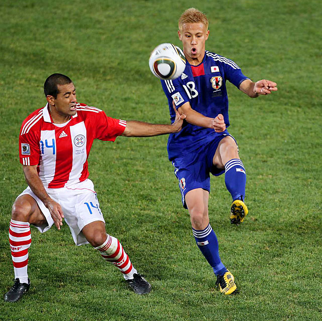Keisuke Honda, who had carried Japan to the second round of play in the World Cup, couldn't do so against Paraguay. The Paraguayan defense keyed on Honda, not allowing him to get a shot on goal. Honda also committed seven fouls during the game and was booked for a yellow card.