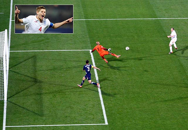 England's midfielder Steven Gerrard (inset) scored the opening goal against the U.S. in just the fourth minute.