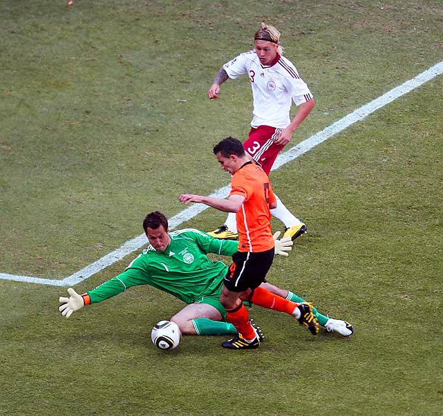 Denmark goalkeeper Thomas Sorensen saved three shots on goal but was busy as Netherlands fired 18 shots overall.