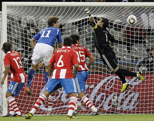 This miscue from Paraguay goalkeeper Justo Villar enabled Daniel De Rossi (not pictured) to equalize in the 63rd minute.