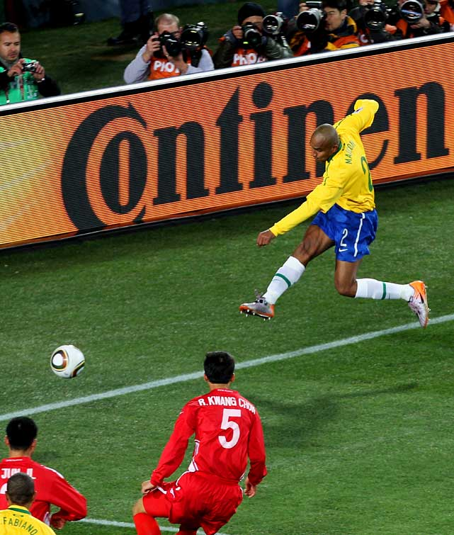 After a scoreless first half, Brazil's Maicon broke through in the 55th minute with a goal from a tight angle. The impressive strike put the five-time world champions on their way to a victory in chilly Johannesburg.