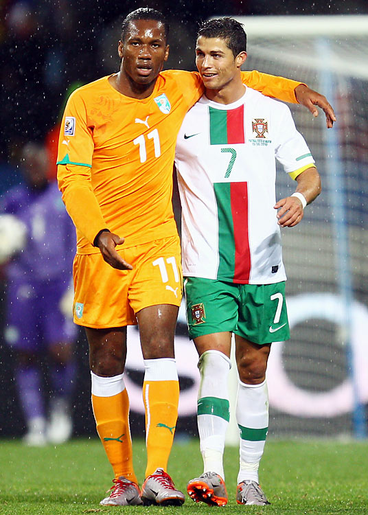 Ivory Coast star Didier Drogba (left) came on as a second-half substitute and played with a cast on the arm he broke during a World Cup warmup match, while Portugal standout Cristiano Ronaldo hit the post on a 30-yard shot in the 11th minute