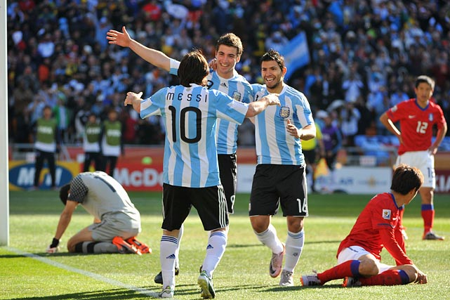 Argentina peppered South Korea with 11 shots on goal and controlled possession for 57 percent of the match.