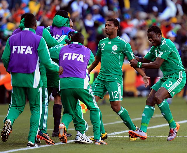 Kalu Uche (12) scored on a 35-yeard free kick 16 minutes into the game to give Nigeria a short-lived lead in a Group B match in Bloemfontein.