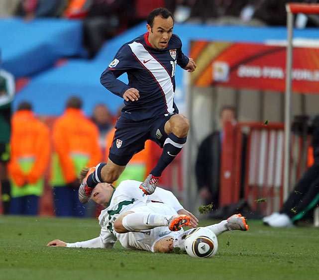 Landon Donovan avoids the Slovenian tackle and darts down the sideline to spur the counter-attack. Donovan scored his first World Cup goal since 2002 and was a catalyst for the US during the second half comeback that made his side only the 5th in World Cup history to earn a draw after falling behind 2-0.