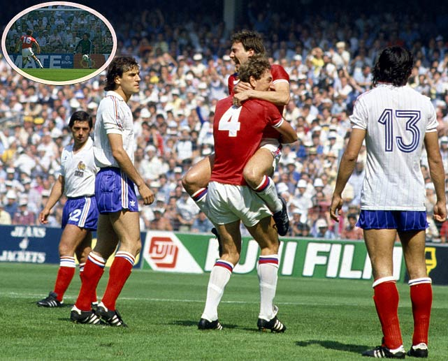 England's Bryan Robson scores the fastest goal ever, 27 seconds into a game against France.