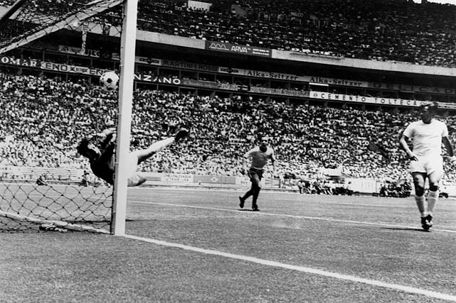 English goalkeeper Gordon Banks makes a save that many consider the greatest of all time against Pele (not in frame).