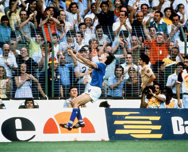 Marco Tardelli's tear-stained, fist-pumping emotional celebration after scoring the second goal against West Germany is considered one of the most memorable ever.