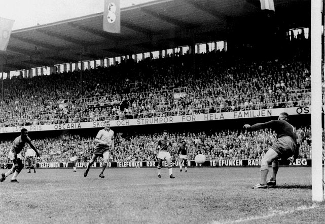 The goal that announced that the 17-year-old Pele had burst onto the international scene.