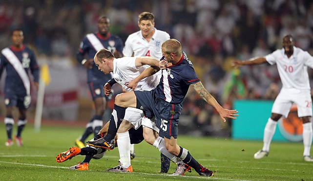 Constantly marked by the likes of Jay DeMerit (No. 15), Wayne Rooney (No. 10) wasn't much of a factor for England, especially in the early going.