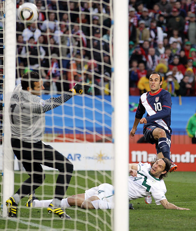 Landon Donovan beats Samir Handanovic from an impossible angle to get the  U.S.  on the board and spark the comeback. With Handanovic hugging the near post Donovan placed the ball perfectly into the roof of the goal .