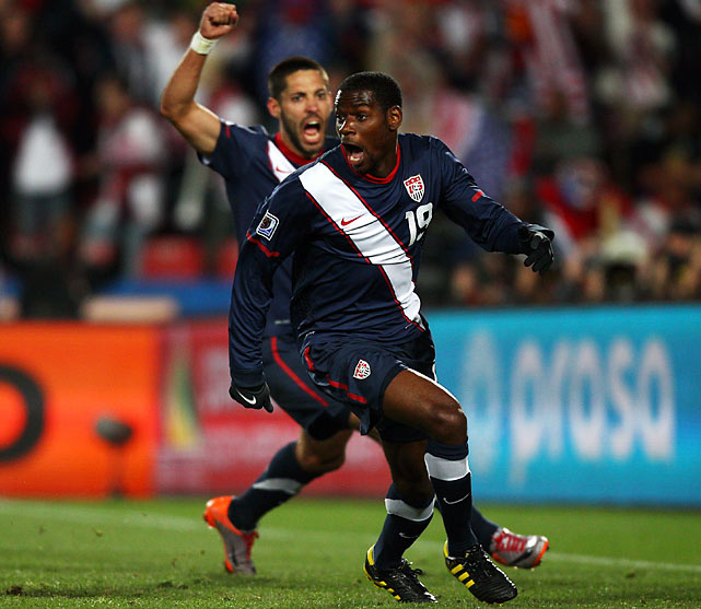 Maurice Edu celebrates with Clint Dempsey after his goal in the 85th minute put the  U.S.  ahead 3-2. The elation would be short-lived, however, when Malian referee Koman Coulibaly disallowed the goal on a phantom call against Edu. Had the goal stood the US would have been the first team in World Cup history to win after falling behind 2-0.