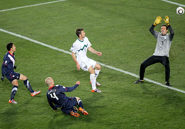 Michael Bradley came streaking into the box unmarked and put home the bouncing loose ball with a perfectly timed, sliding one-timer to beat Slovenian keeper Samir Handanovic.