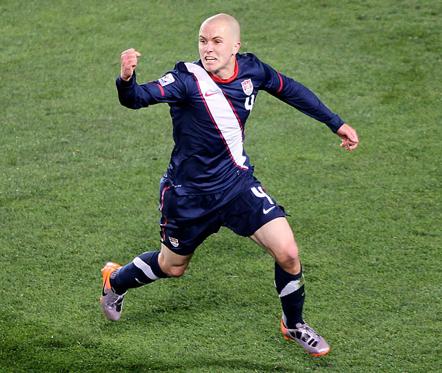 Michael Bradley celebrates the equalizer that made his team only the 5th in World Cup history to earn a draw after falling behind 2-0.