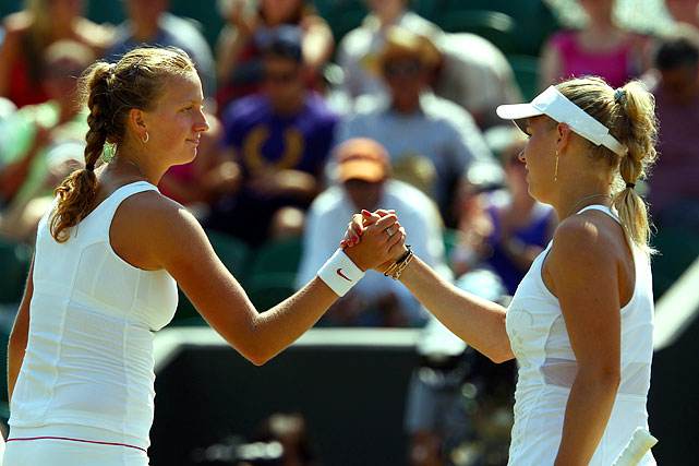 Unseeded Czech Petra Kvitova (left) needed only 46 minutes to dispatch third-seeded Caroline Wozniacki 6-2, 6-0 to reach her first quarterfinal in a Grand Slam. Wozniacki won only six points on Kvitova's serve.