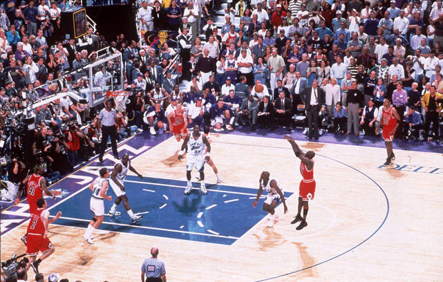 The Chicago Bulls clinch their sixth NBA Championship in eight seasons in a thrilling 87-86 win played at the Delta Center. Michael Jordan scores the winning basket with a jump shot over Byron Russell.