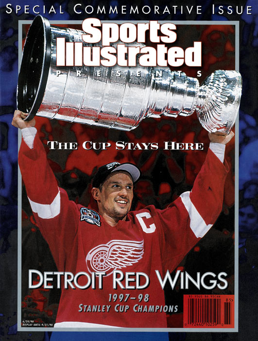 The Detroit Red Wings win their first NHL championship in 42 years with a 2-1 victory over Philadelphia, completing the four-game sweep.