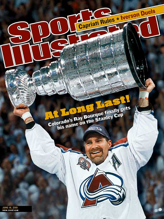 Colorado's Ray Bourque wins his first Stanley Cup. He retired from the NHL just 17 days later after a 22-year-career.