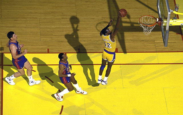 James Worthy posted the first triple-double of his career with 36 points, 16 rebounds and 10 assists as the Los Angeles Lakers defeated Detroit 108-105 in Game 7 of the Finals to become the first NBA team to successfully defend its title since the Boston Celtics in 1968 and 1969.