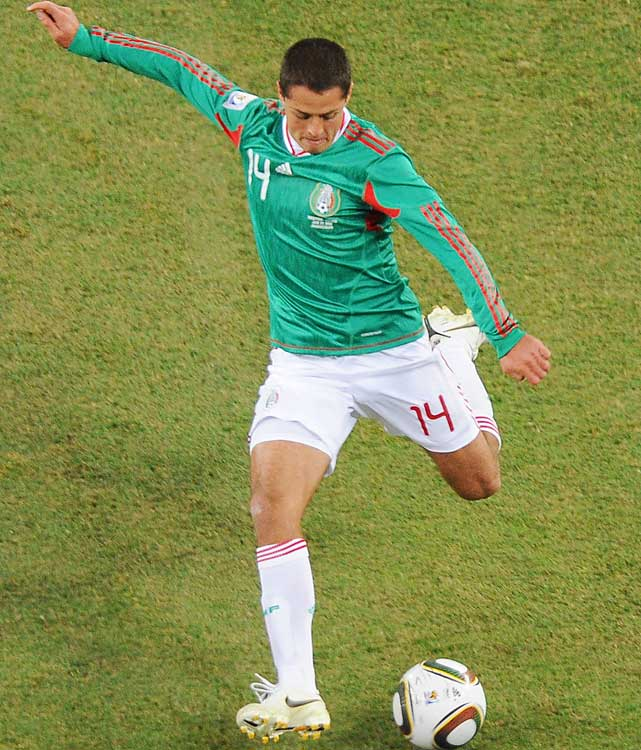 Mexican Javier Hernandez takes a shot that wound up as Mexico's lone goal. Hernandez, a budding 22-year-old striker, begins a stint with Manchester United next season.