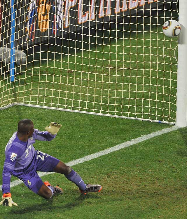 Ghana goalkeeper Richard Kingson watches Landon Donovan's penalty kick bounce in off the post. Ghana sent the U.S. home for the second straight World Cup.