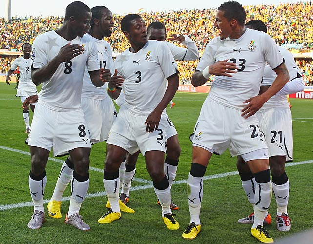 Ghana celebrates Asamoah Gyan's (3) penalty-kick goal, his second goal in as many games in the 2010 World Cup.
